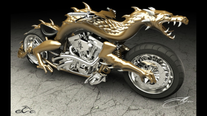 Chinese Dragon 3D Printed Motorcycle
