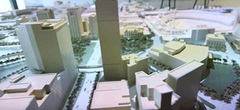 3D printed, scale model of Downtown Detroit