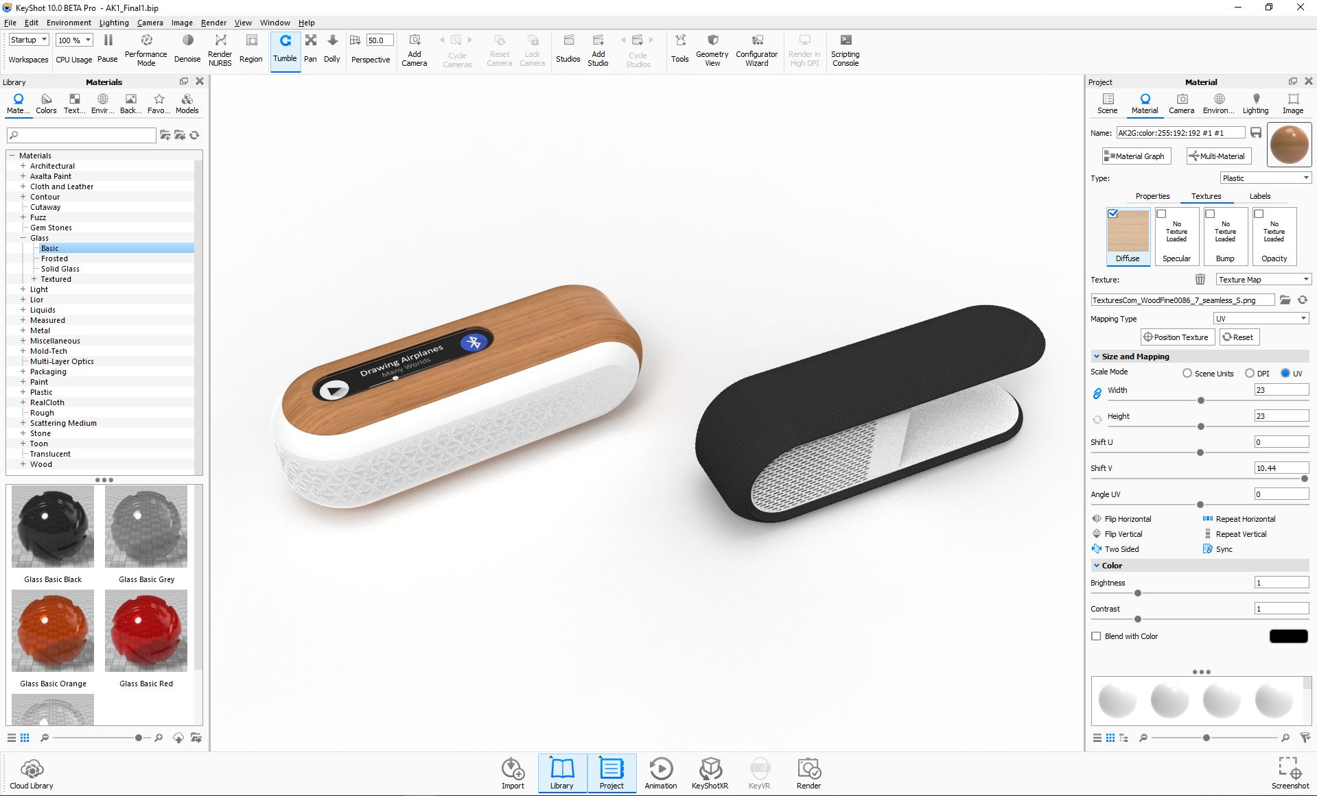 Image of speaker prototype in Keyshot software.