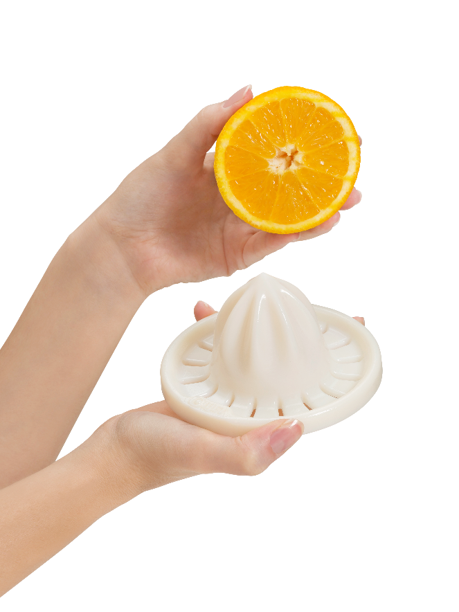 Orange squeezer 3D printed with simulated polypropylene material.