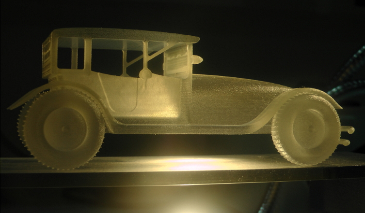 3D printed transparent classic car