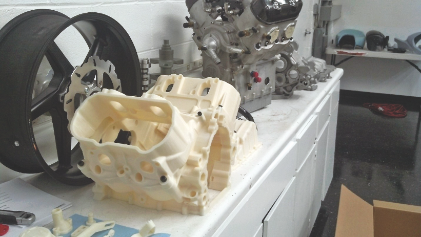 Larger engine model parts are printed on Fortus 400mc 3D Printer.