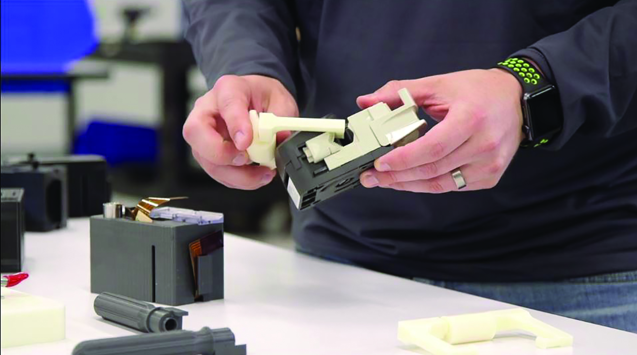 Several of CSI's 3D printed manufacturing aids