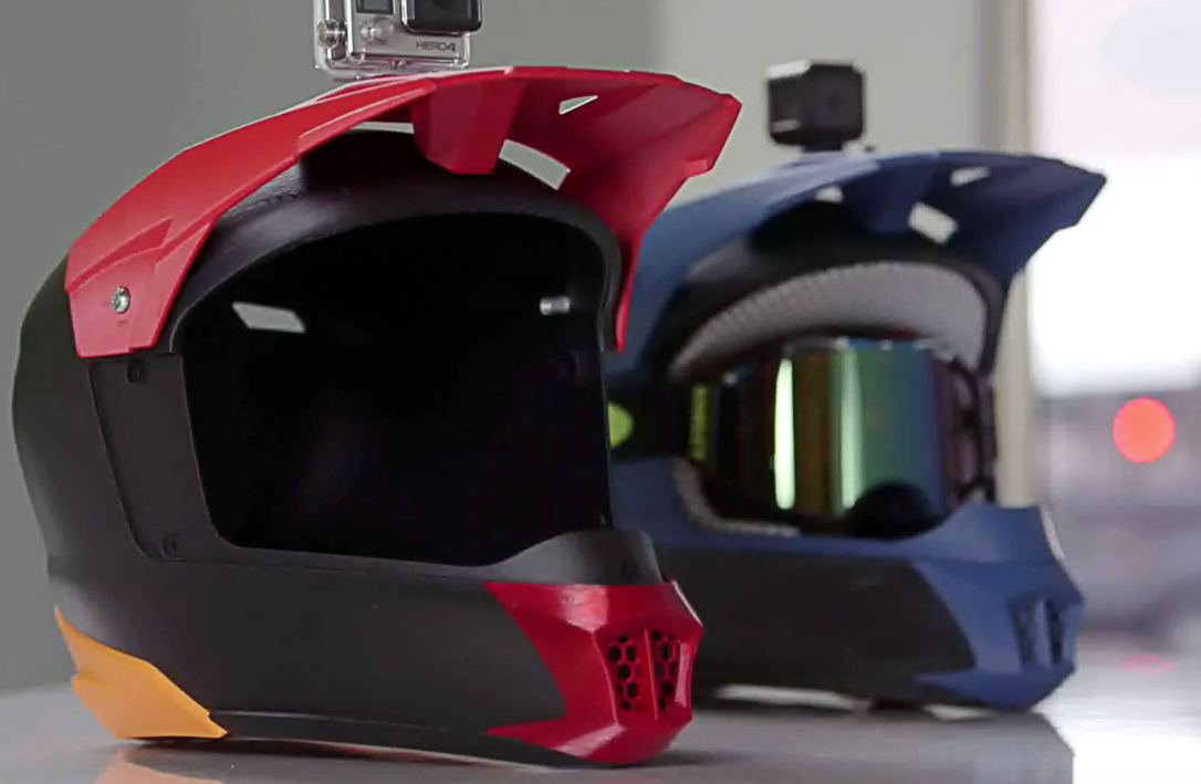 The helmet prototype was 3D printed in one build on the Stratasys F370.