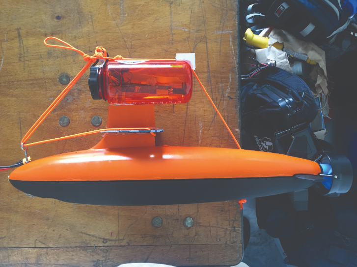 Deployable submarine with camera, encased in 3D printed material