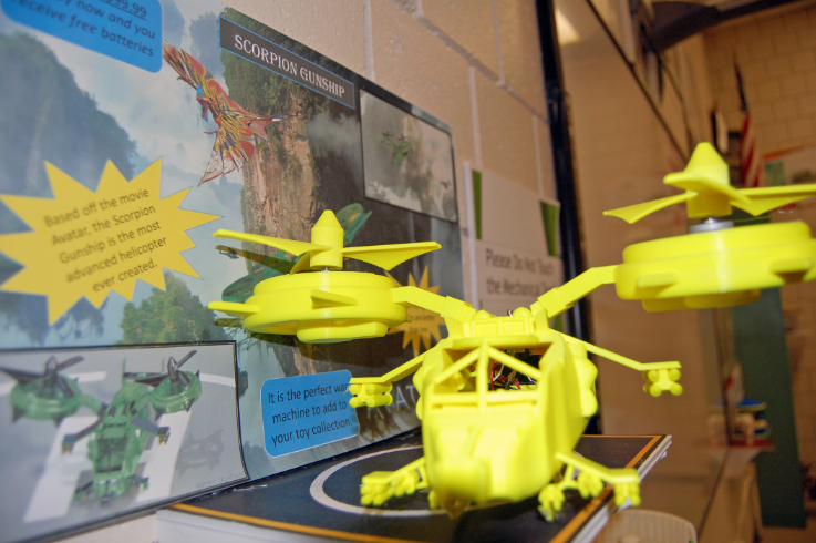 Helicopter toy model was designed and 3D printed by an MHS STEM student in engineering.