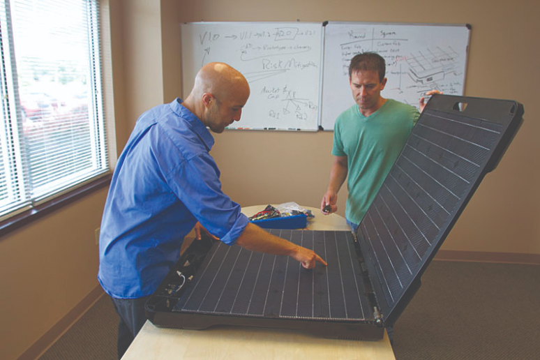 A 3D printed prototype made of strong ABS plastic helped Peppermint Energy design its FORTY2 solar generator .