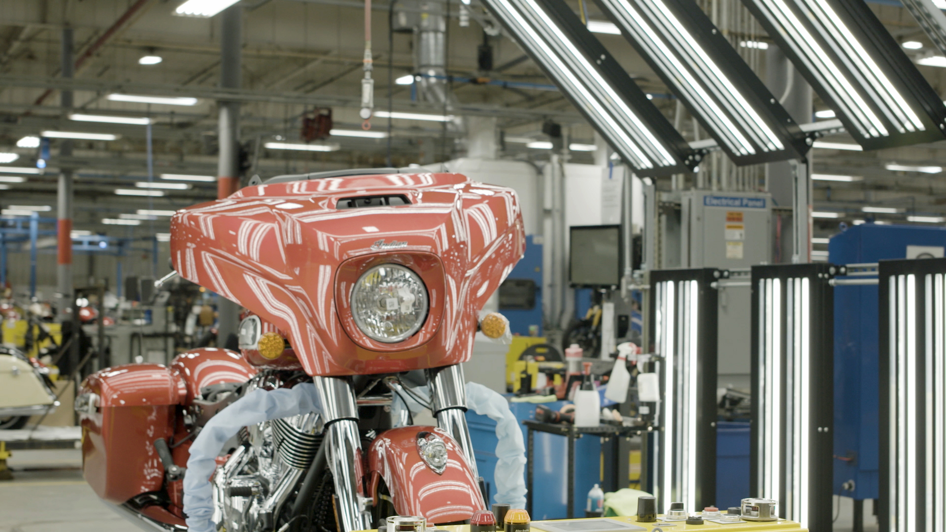 Motorcycle in plant being built