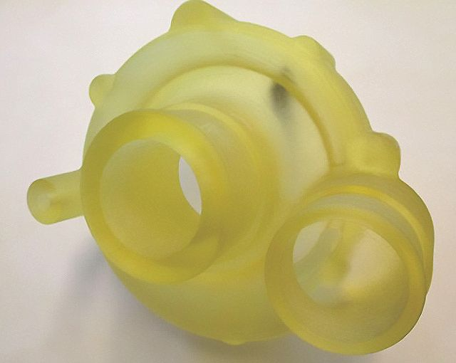 VCE 3D printed this water pump housing in Transparent material for quick functional testing.