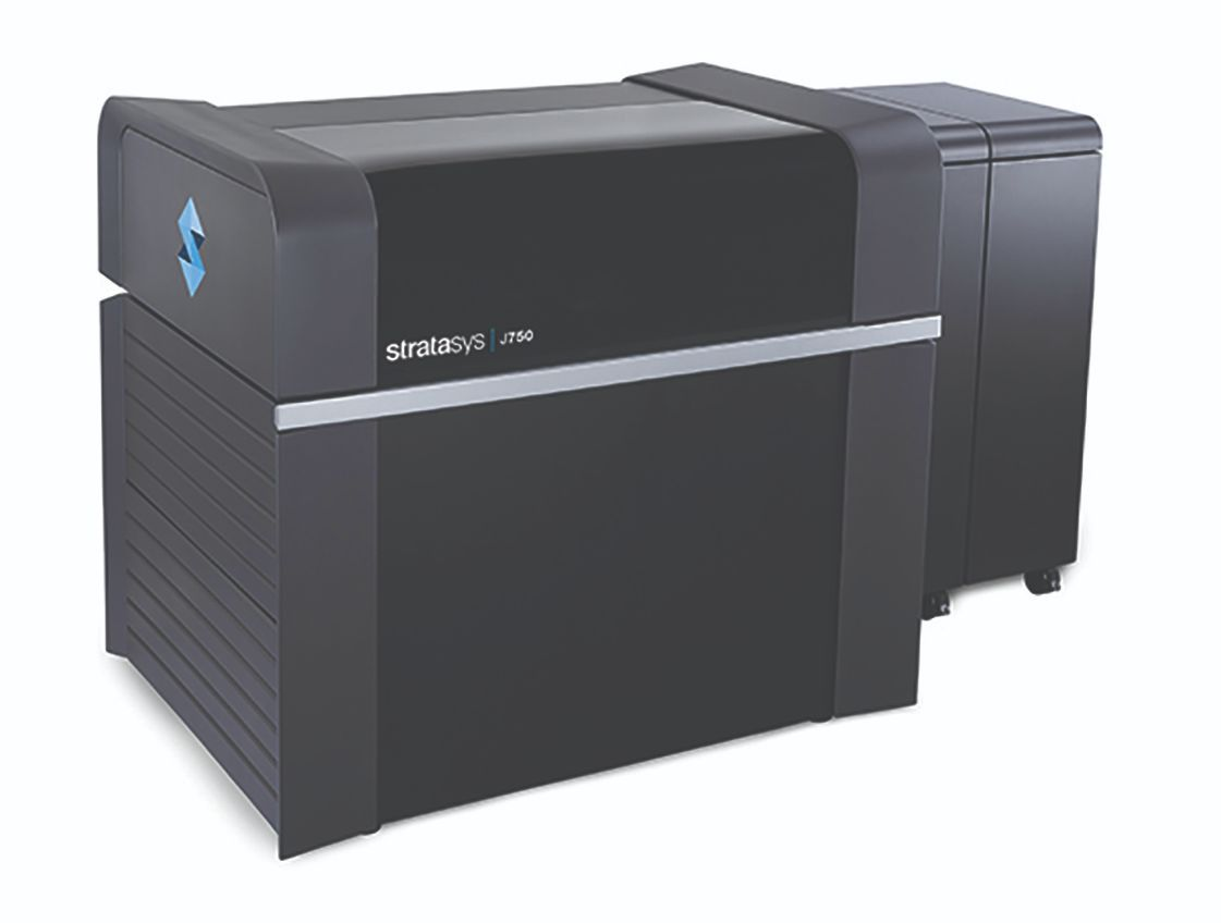 The full-color, multimaterial Stratasys J750 3D printer.