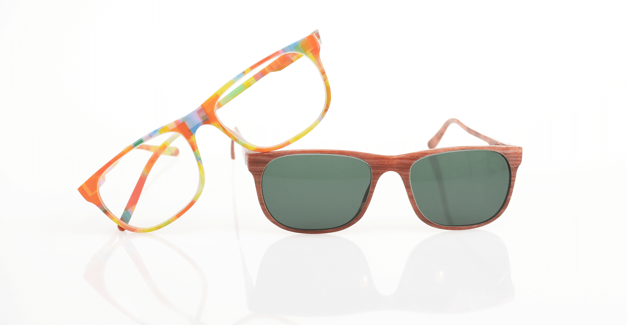 f2d1b269cad View various eyewear prototypes 3D printed in various color combinations of  VeroFlex on the Stratasys J750.