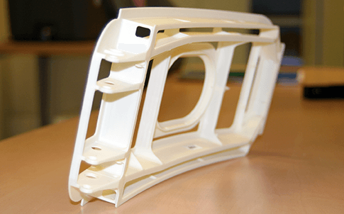 The 3D printed miniature prototype of an Airbus aircraft door system.