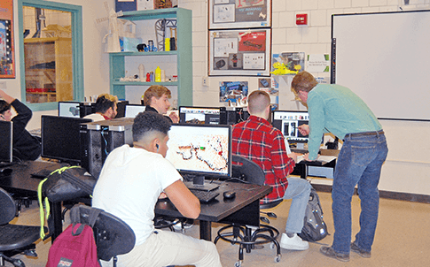 Paul Duplessis teaches CAD to Marlborough High School's STEM students.