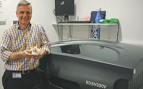 Prosthetist Stefan Edmondson and the Stratasys Objet Eden 350 3D Printer.