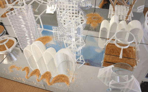 3D printed art sculptures created by SUNY New Paltz students.