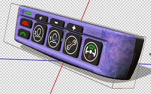 Model of keypad panel in Photoshop, with texture applied.
