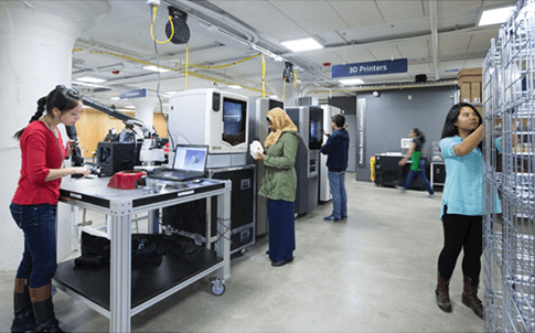 The Sears think[box] 3D printing space at Case Western Reserve University.