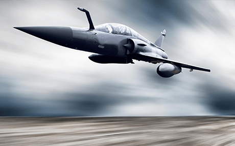 A really fast airplane in fight