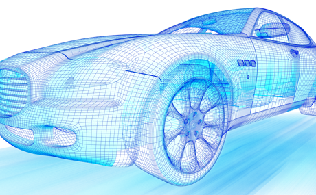 3D graphic wireframes of a car