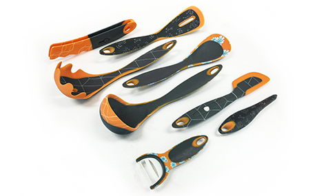 An assortment of kitchen utensils made from the Stratasys J750