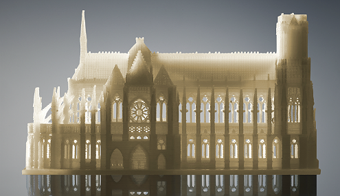 Architectural model 3D printed with soluble support material