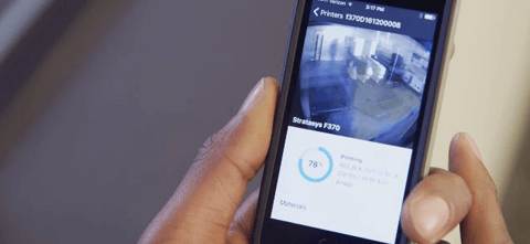 a smart phone that is keeping track of the F123 series 3d printing progress