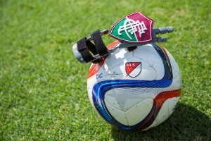Paulo Costa Boa Nova's 3D printed hand, sporting the emblem and colors of the Brazilian soccer club Fluminense FC. Photo courtesy Orlando City Soccer Club