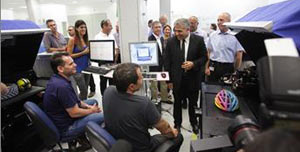 VIP visitor to Stratasys Kiryat Gat facility in Israel: Israel's Minister of Finance, Mr. Yair Lapid, chats with Stratasys production facility workers