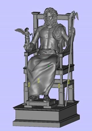 CAD rendering of the Zeus statue which is returning to its former glory with the help of the Stratasys Fortus 900mc Production 3D Printer
